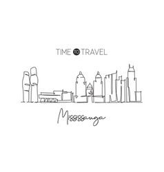 one continuous line drawing mississauga city vector image