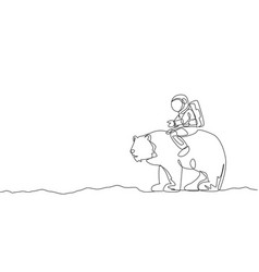 One single line drawing astronaut riding bear vector