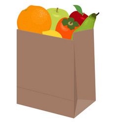 paper bag of different health food on white vector image