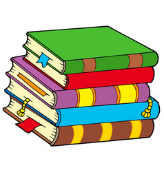 Pile colorful books vector