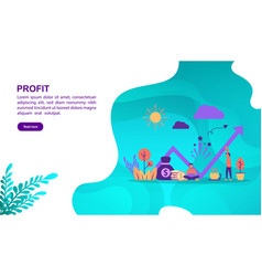 profit concept with character template for banner vector image