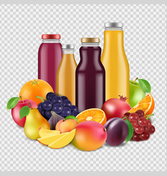 realistic fruits and juices isolated on vector image