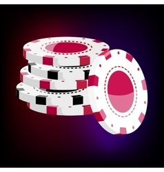Red and black casino tokens icon cartoon style vector image