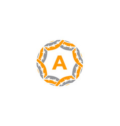 ribbon circle star initial a vector image