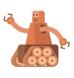 Robot with caterpillar track icon cartoon style vector
