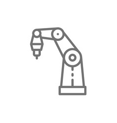 Robotic arm for 3d printer line icon vector