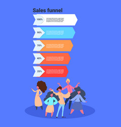 Sales funnel with people full length stages vector