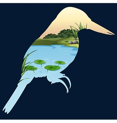 Save wildlife theme with bird and pond vector image