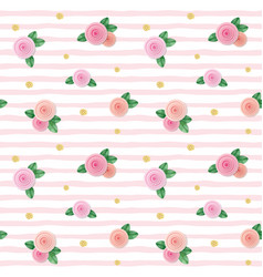 seamless pattern with roses and glitter polka dots vector image