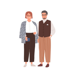 Senior couple modern man and woman in eyewear vector