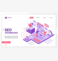 Seo technology landing page template vector