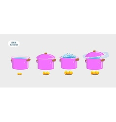 Set cooking plates Boiling water for various vector