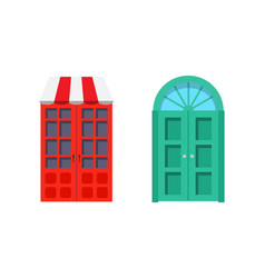 set entrance door front view homes and buildings vector image
