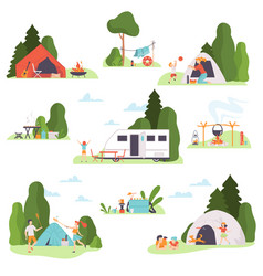 Set holiday pictures at campsite vector