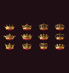 set king crowns on white background vector image