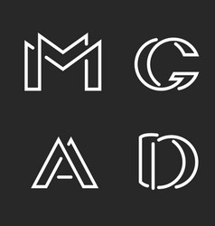 Set logo m d a g letters monograms logos group vector
