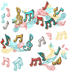 set of bright retro music page decorations vector image