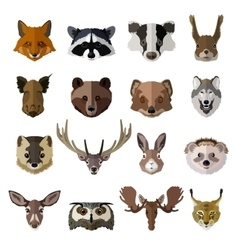 Set of forest animals faces isolated icons Flat vector