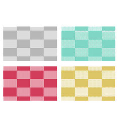 Set of modern checkered tablecloths patterns in vector
