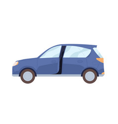 side view blue car with open door new modern vector image