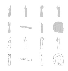Sign language outlinemonochrome icons in set vector