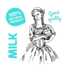 sketch of milkmaid vector image