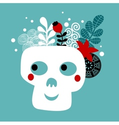 Skull with flowers vector image