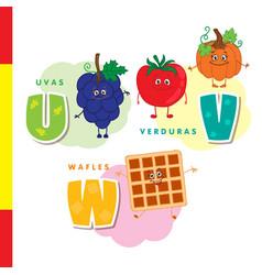 spanish alphabet grapes vegetables waffles vector image