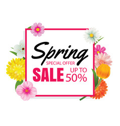 spring sale banner card template with colorful vector image vector image