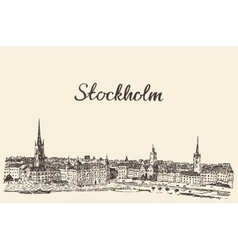 Stockholm skyline engraved drawn sketch vector