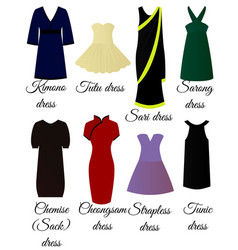 styles of dresses vector image