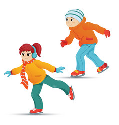 Teenage boy and girl ice skating winter sport vector
