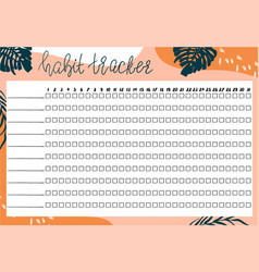 Template habits tracker for a month with abstract vector