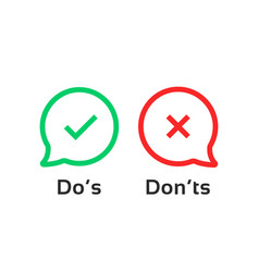 thin line speech bubble like dos and donts vector image