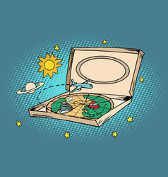 Travel tourism concept cosmos pizza planet earth vector