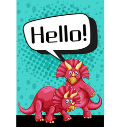Two triceratops on blue background vector