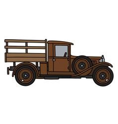 Vintage brown truck vector