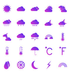 weather gradient icons on white background vector image