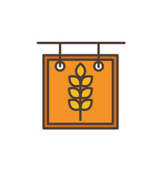 wheat board oktoberfest icon line filled vector image