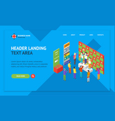winner concept landing web page template isometric vector image