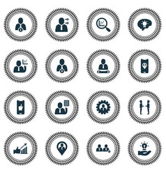 work icons set with team location new idea vector image