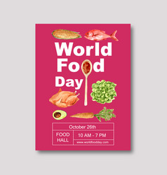 World food day poster design with chicken corn vector