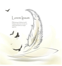 Writing old feather with flying birds vector
