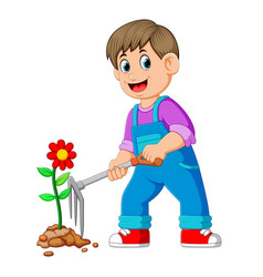 Young man taking care of plants and using the rake vector