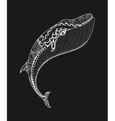 zentangle white whale print for adult vector image