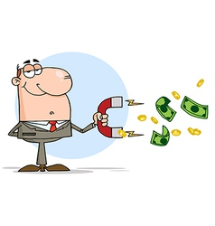 Businessman Using A Magnet To Attracts Money vector image