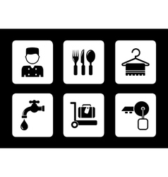 hotel icons on black background vector image