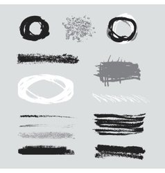 Isolated shapes Set of black grunge vector image vector image