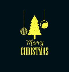 merry christmas christmas tree and hanging balls vector image vector image