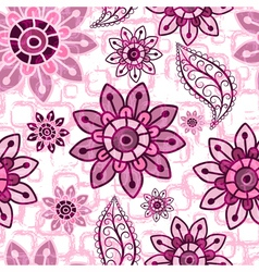 Pink floral seamless grunge pattern vector image vector image